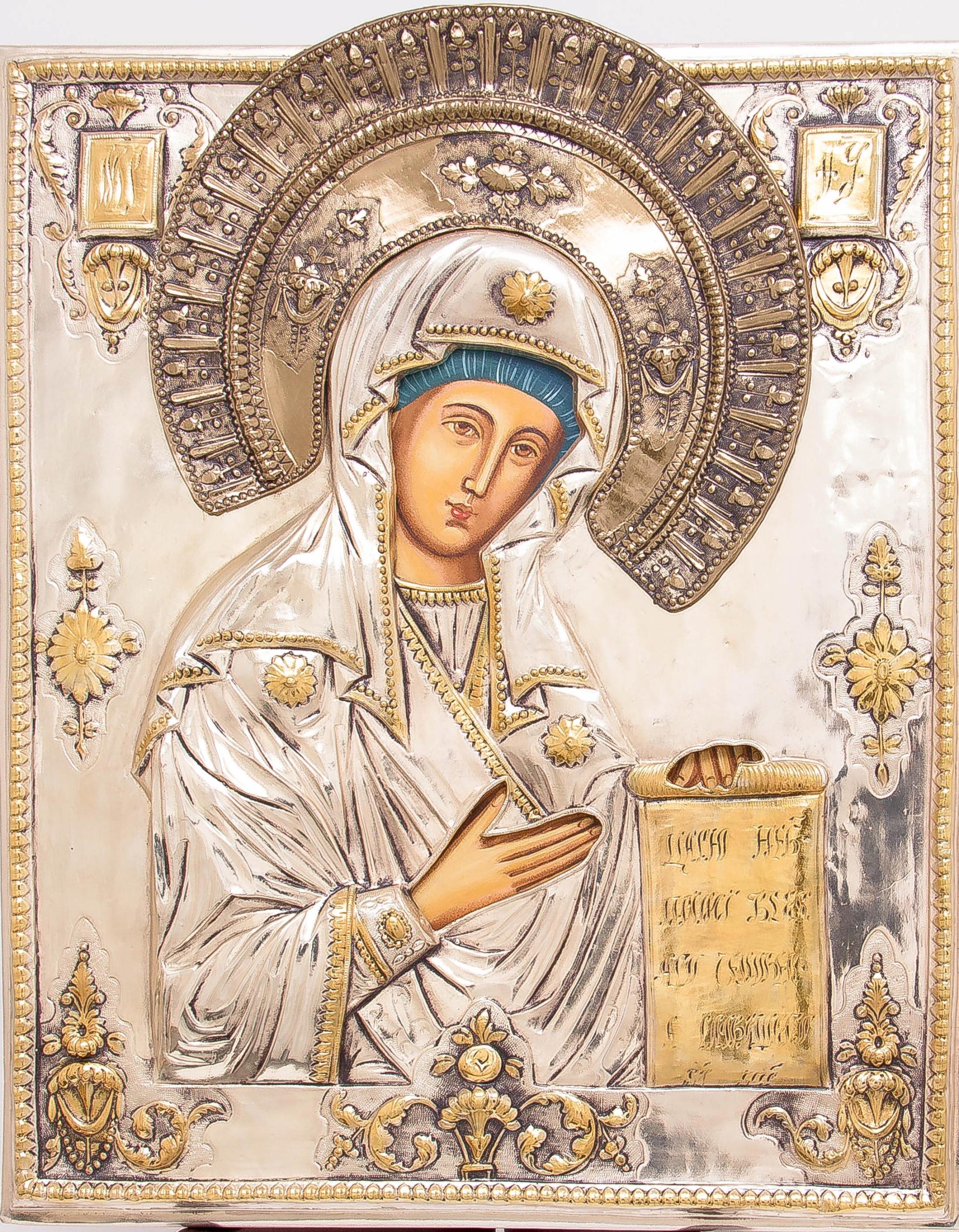 Ikona Matki Bożej Bogolubskiej SREBRO ZŁOTO nr 39