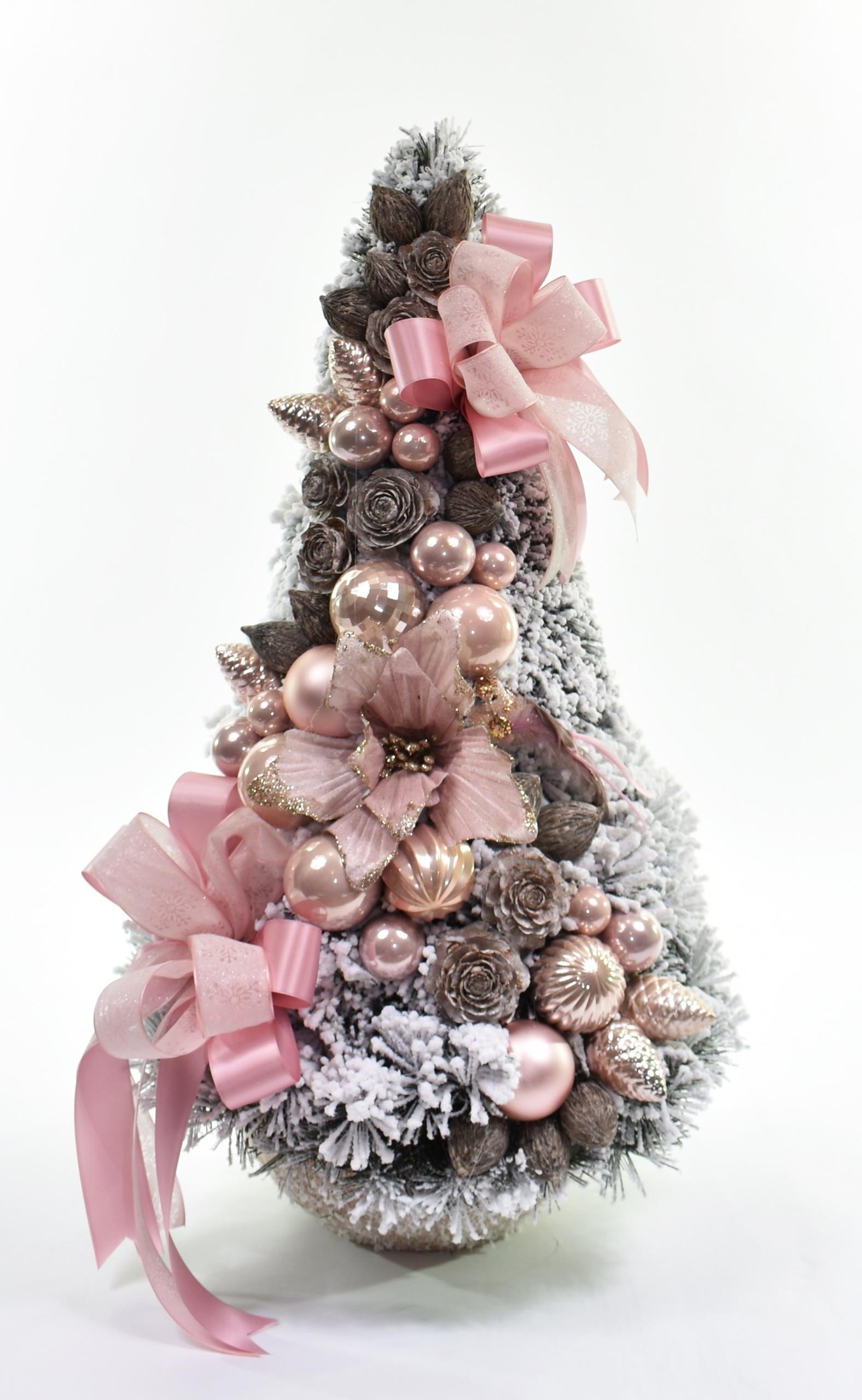 Vianočný stromček zdobený snehovým kužeľom, ružový 75cm