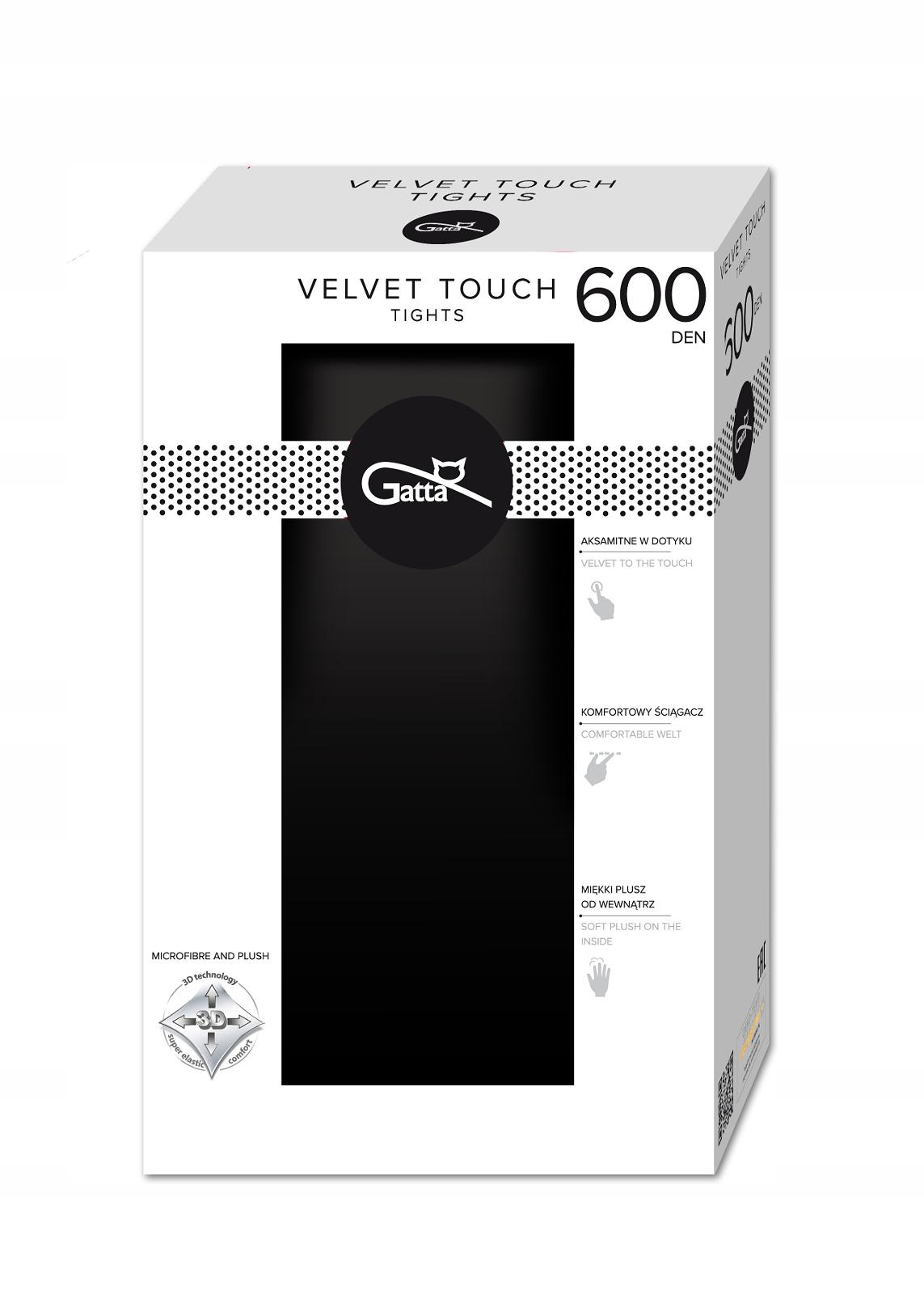 Gatta Velvet Touch rajstopy plusz 600den nero r.4