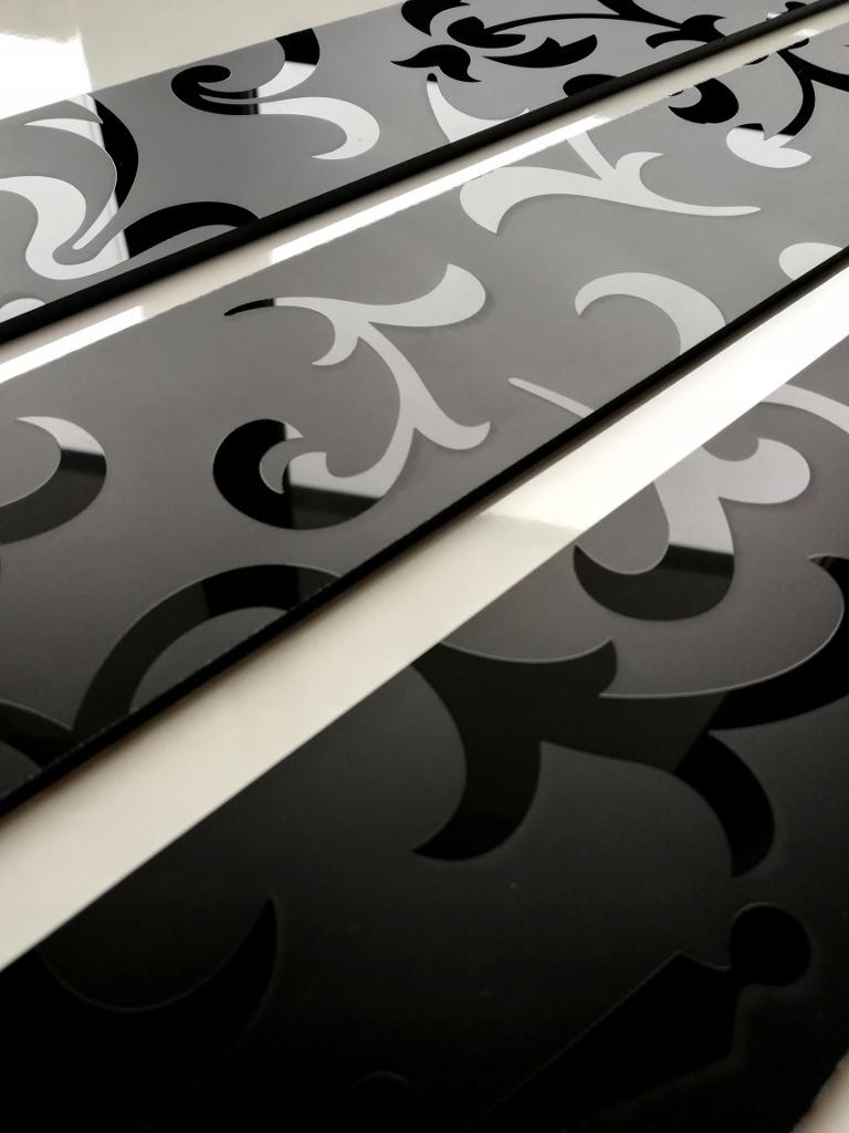 Планка СТЕКЛО Мозаика Декор стеклянный Черный 6cm