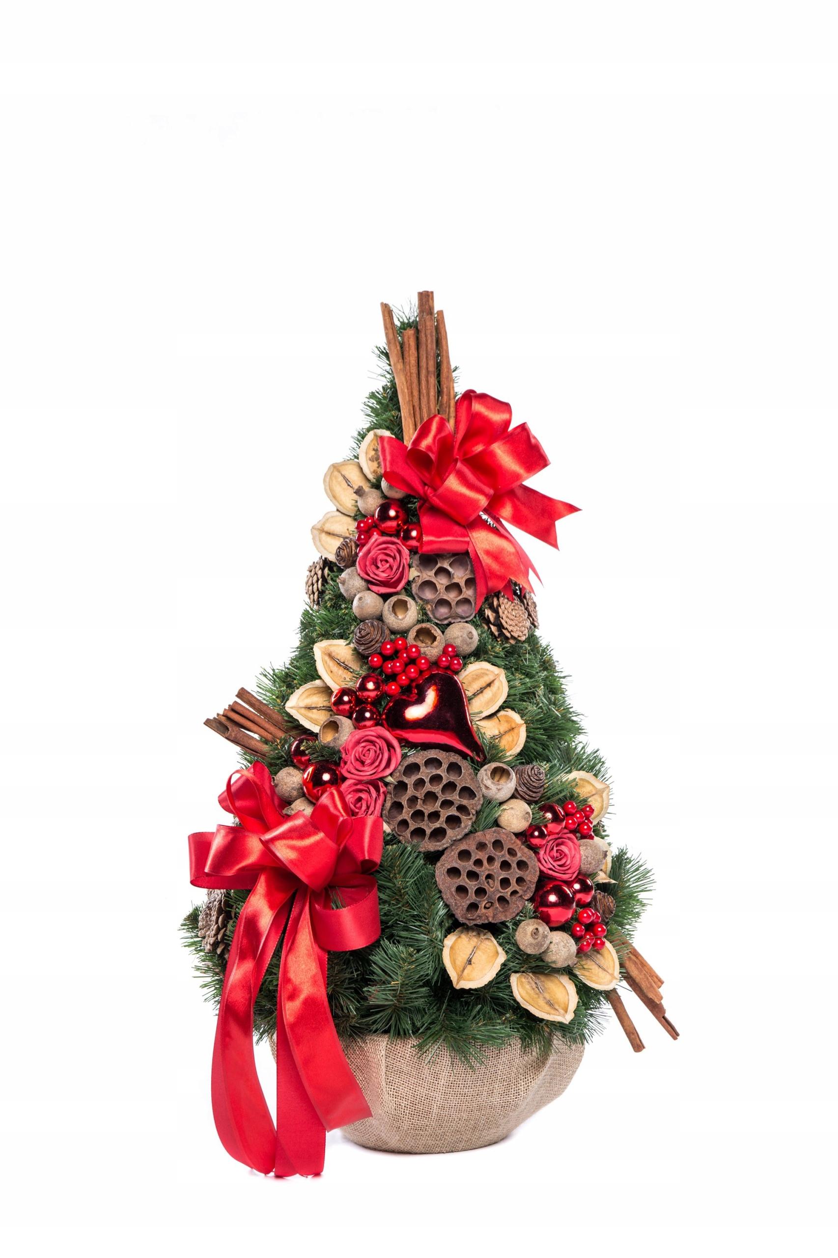 Zdobený umelý vianočný stromček, šiška, červená 75 cm