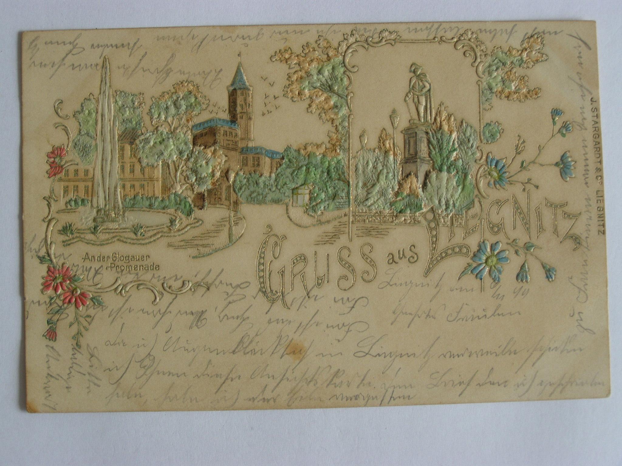 Legnica Liegnitz wytłaczana cudo 1899 lit secesja