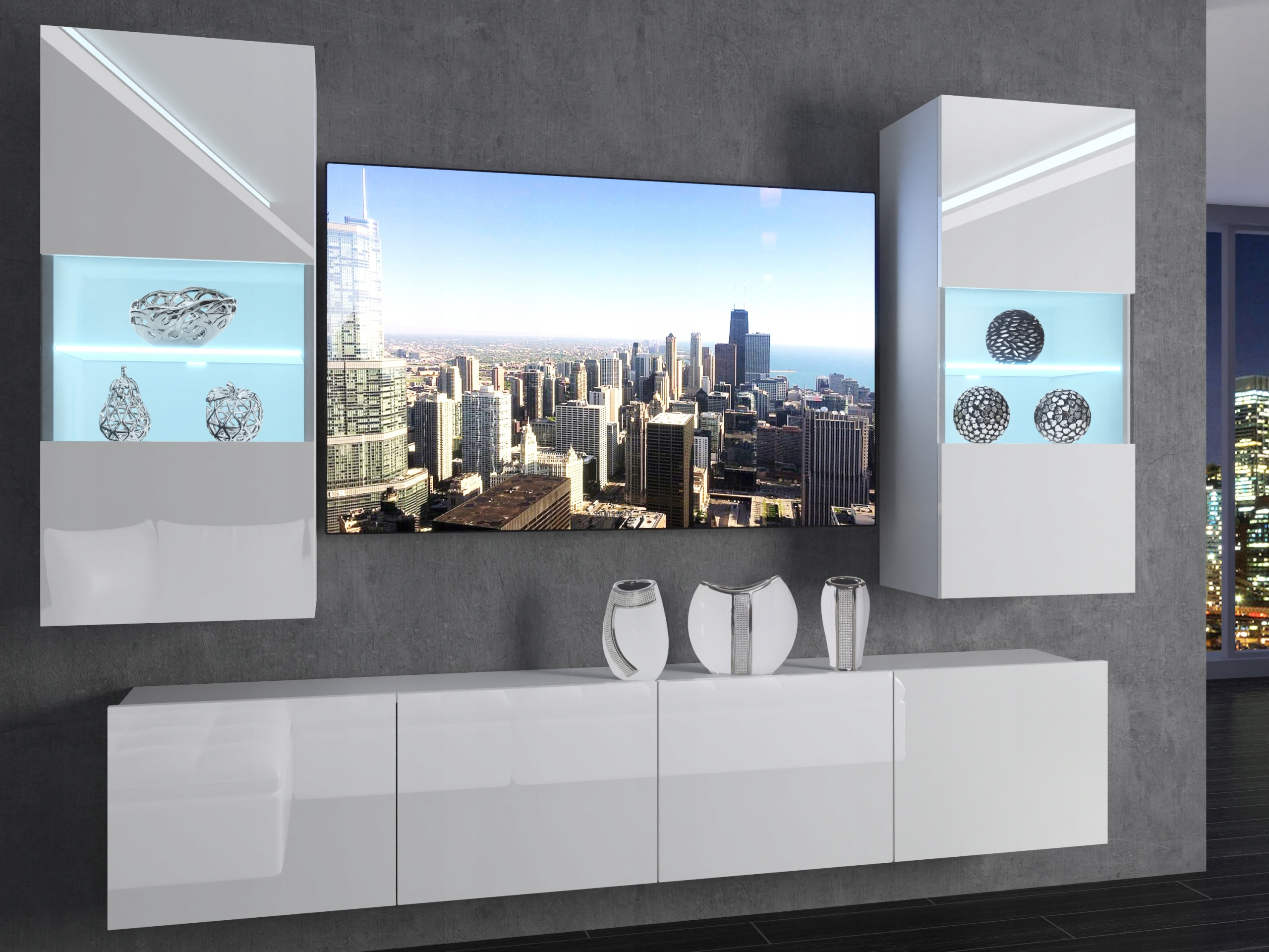 Стенка белая Мебель для гостиную комнату
