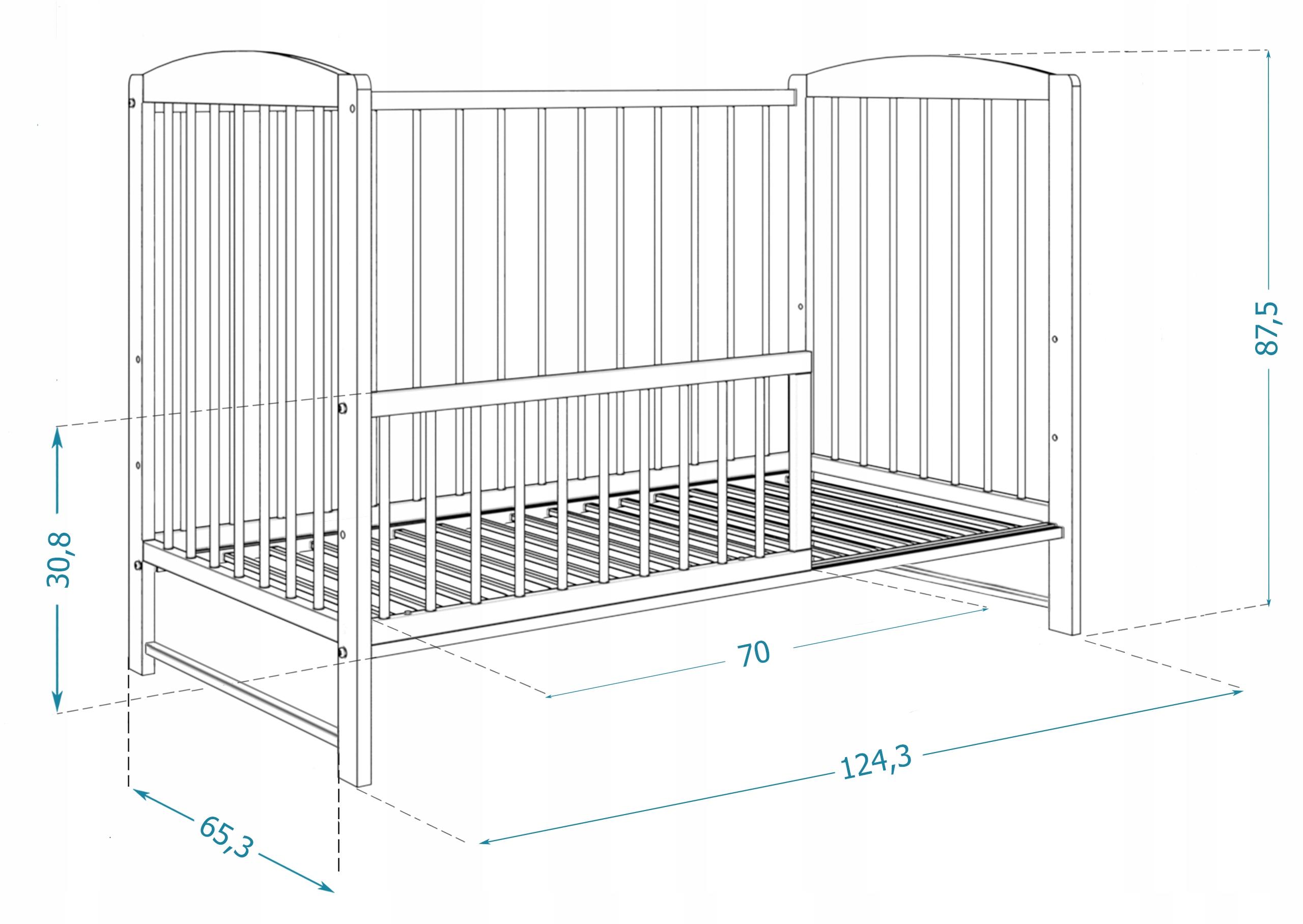 Łóżeczko dziecięce 60x120 cm ADAŚ białe 2w1 Szerokość 60 cm