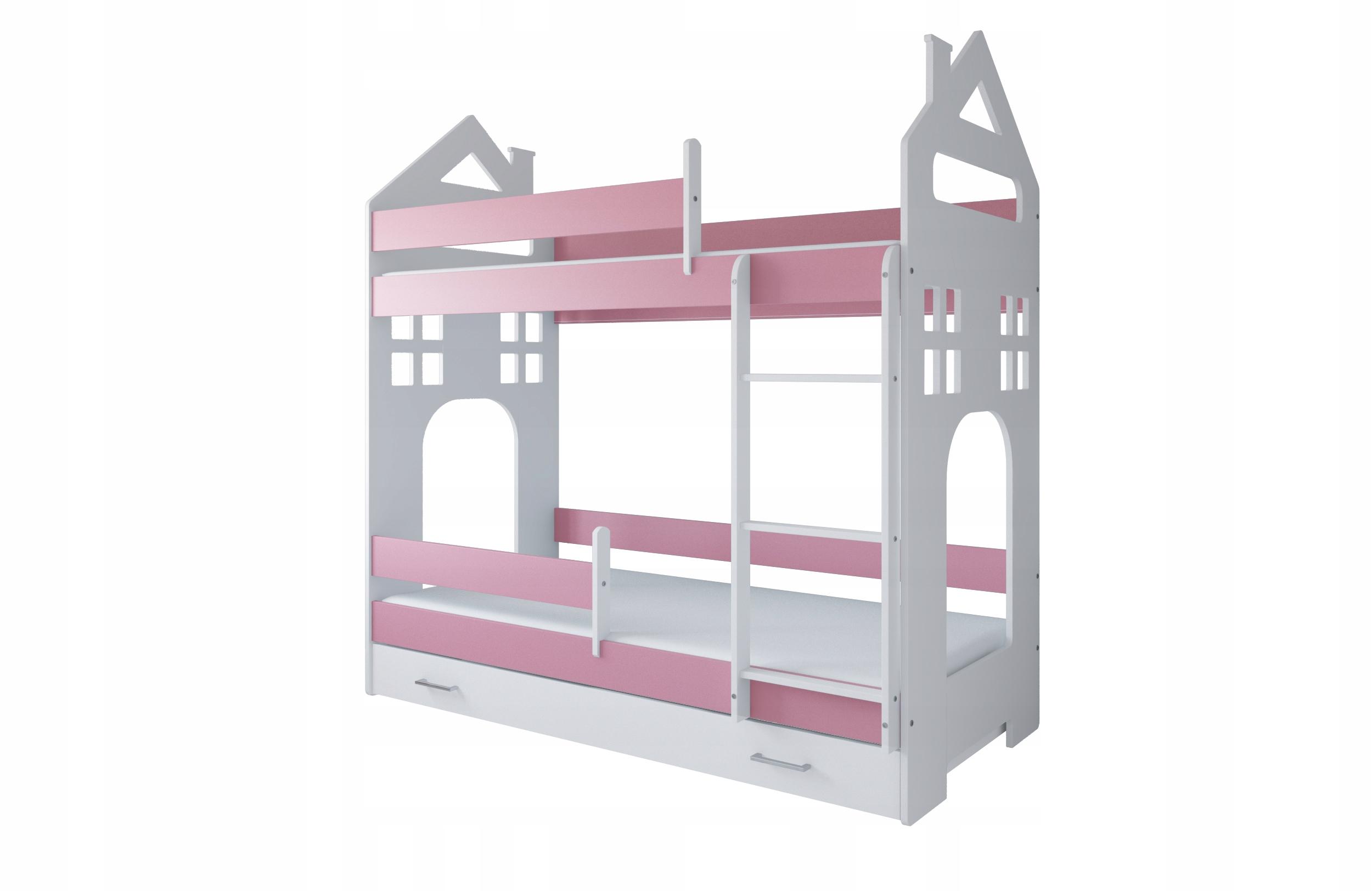 Łóżko piętrowe DOMEK II 180x80 szuflada i materace