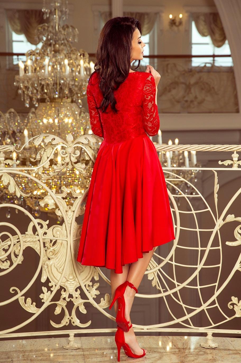 Sukienka elegancka rozkloszowana koronka wesele M