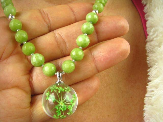 1201 JEDINEČNÝ Náhrdelník Jade Zelená Strieborné Kvety