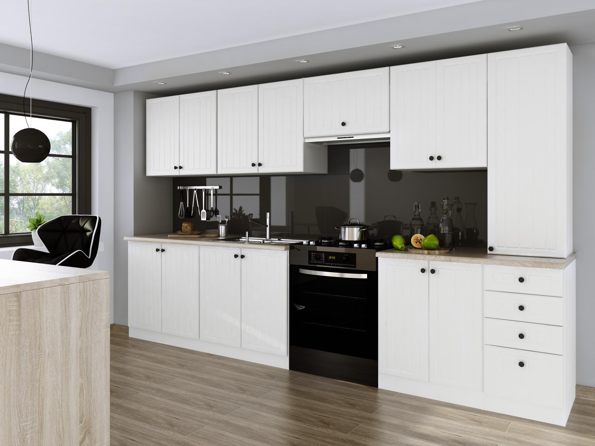 Kuchyňa - 3.20 m, biela, moderná/retro, mlyn