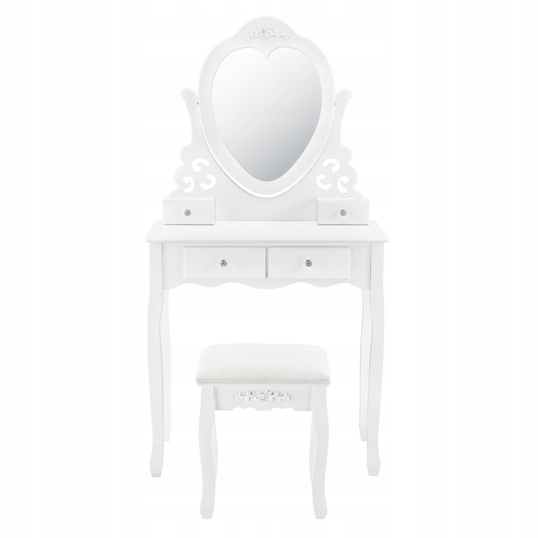 KOZMETICKÉ WC ZRCADLO BIELE + STOLIČKA Farba nábytku je biela