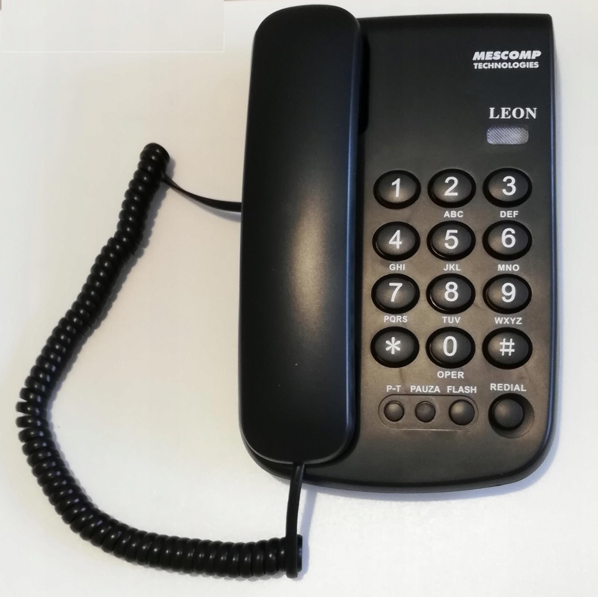 Telefon Stacjonarny Przewodowy Leon Mt 508 Czarny 8475867812 Sklep Internetowy Agd Rtv Telefony Laptopy Allegro Pl