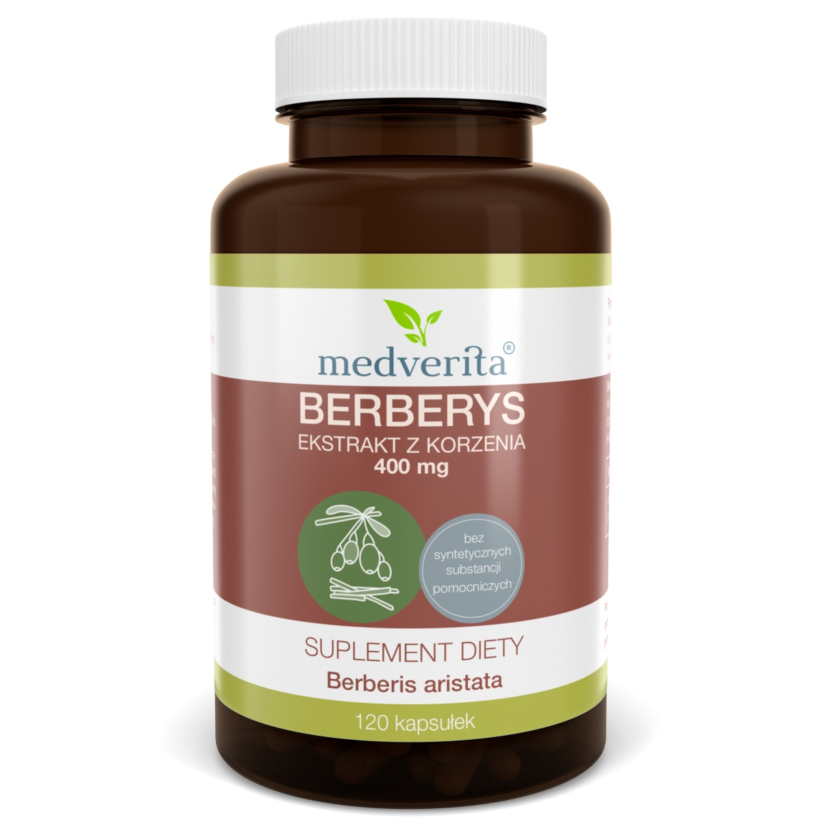 BERBERYS ekstrakt korzeń 400mg berberyna 120 kaps.