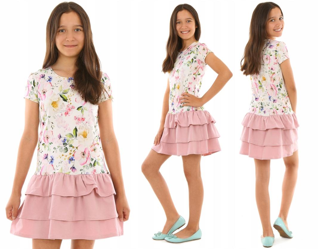 Платье с тремя воланами, ЦВЕТАМИ - 152 ТОЧКИ