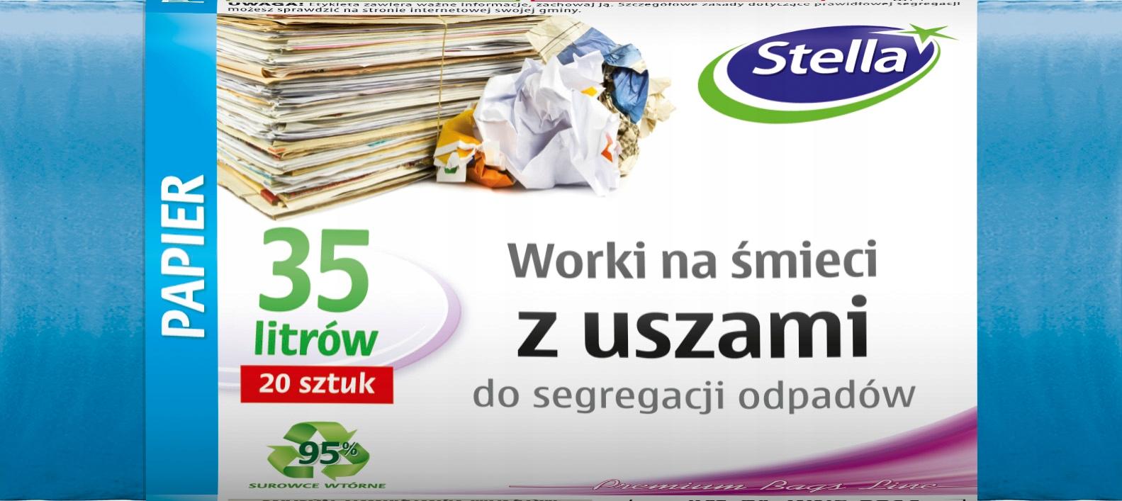 Tašky na triedenie odpadu, PAPIERA 35 L 200 kusov