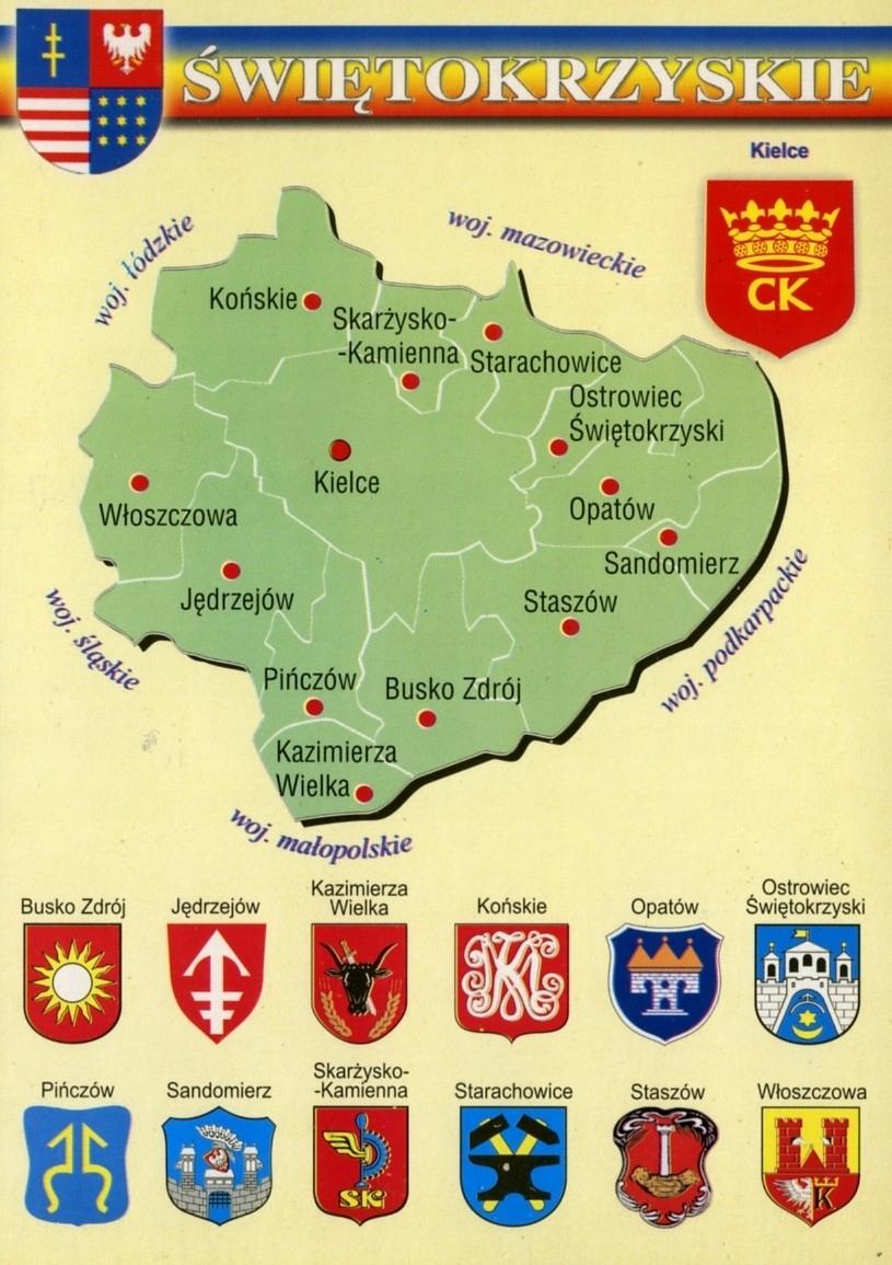 Woja Świętokrzyskie mapa Herby WR793 - 10 ks.