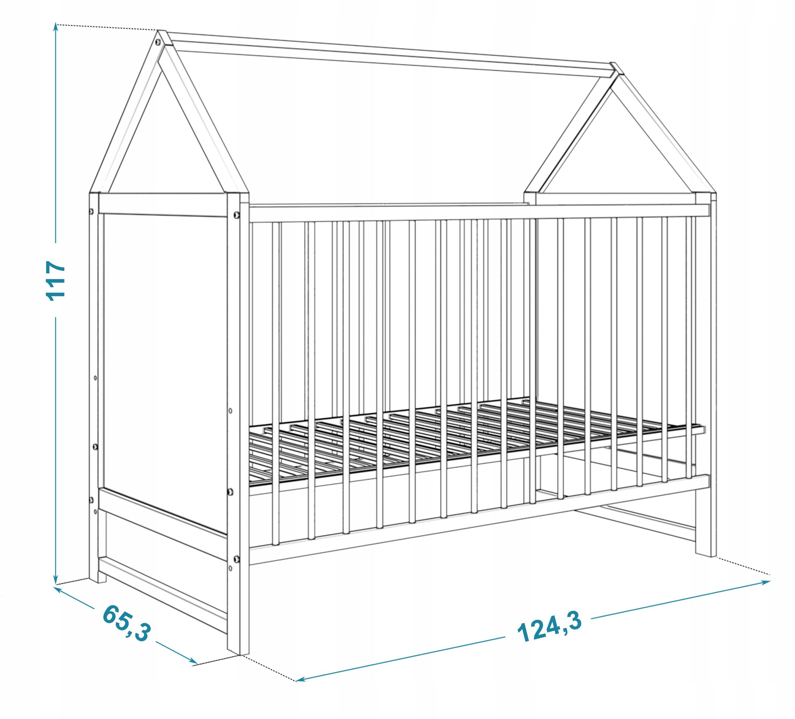 Łóżeczko domek 60x120 cm ANIA białe z materacem Długość 120 cm