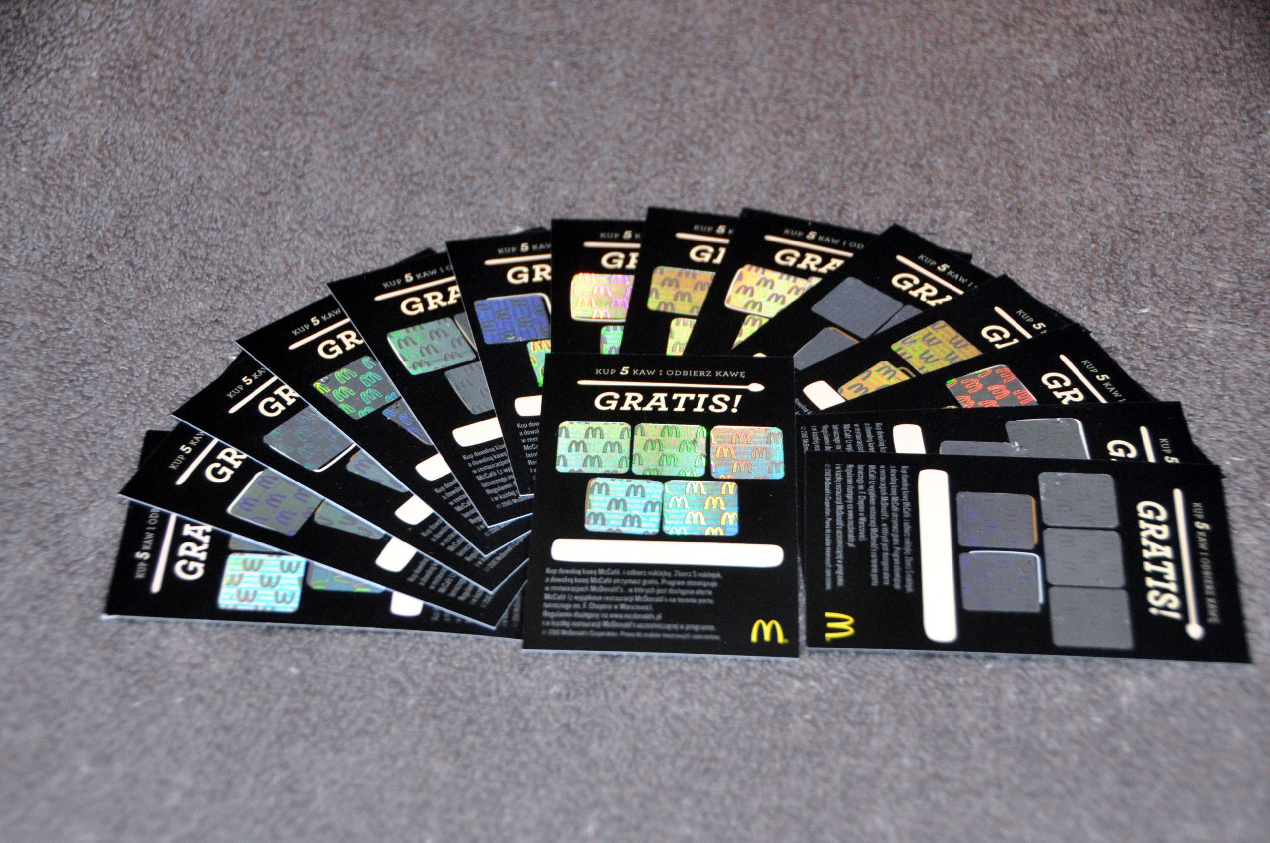 Item 15 coupons for coffee at McDonald's Holograms