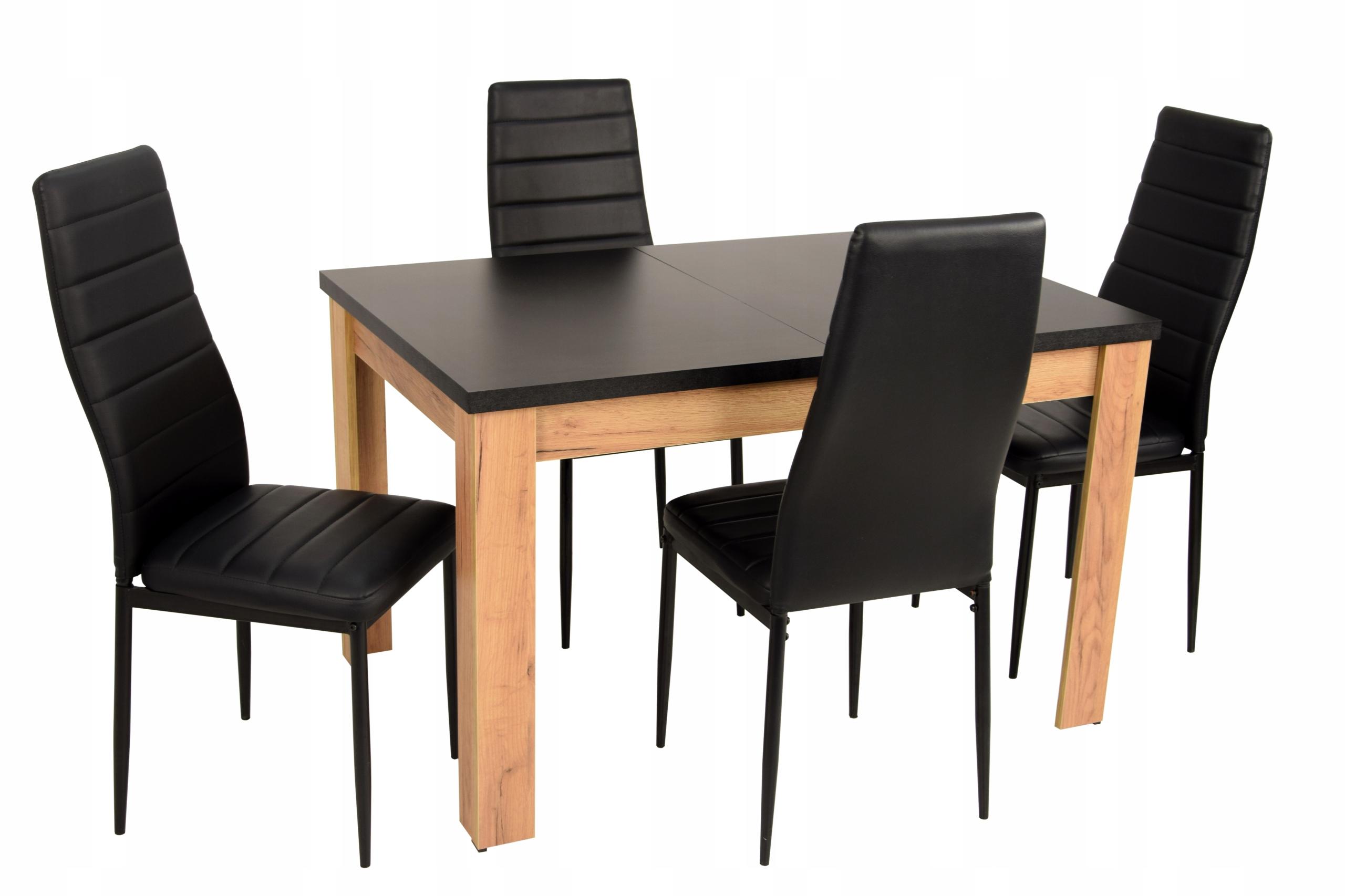 Nowoczesny zestaw Czarny Dąb stół 120 i 4 krzesła