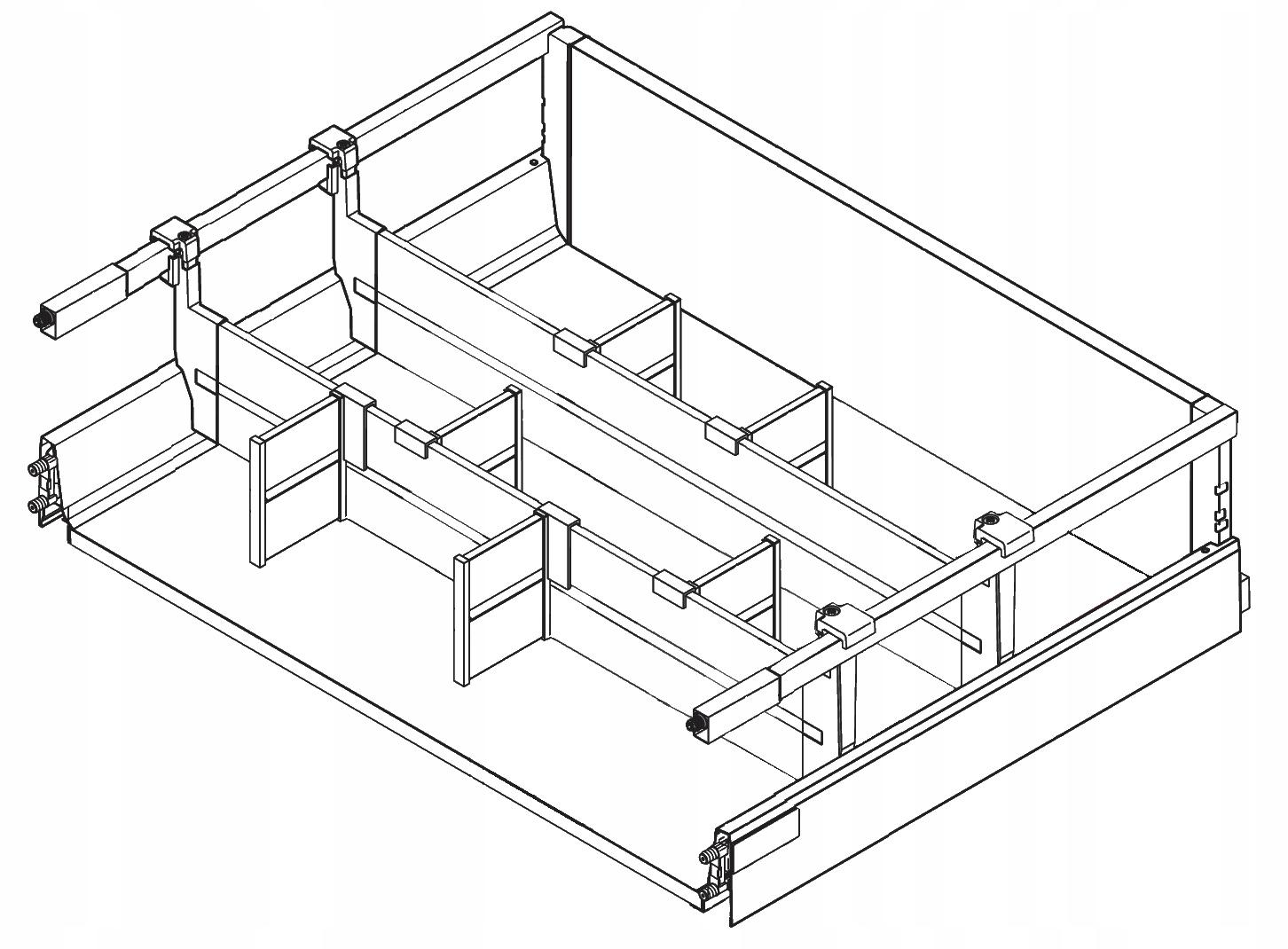 BLUM ANTARO Organizér do zásuviek 61-120 cm 2L biela