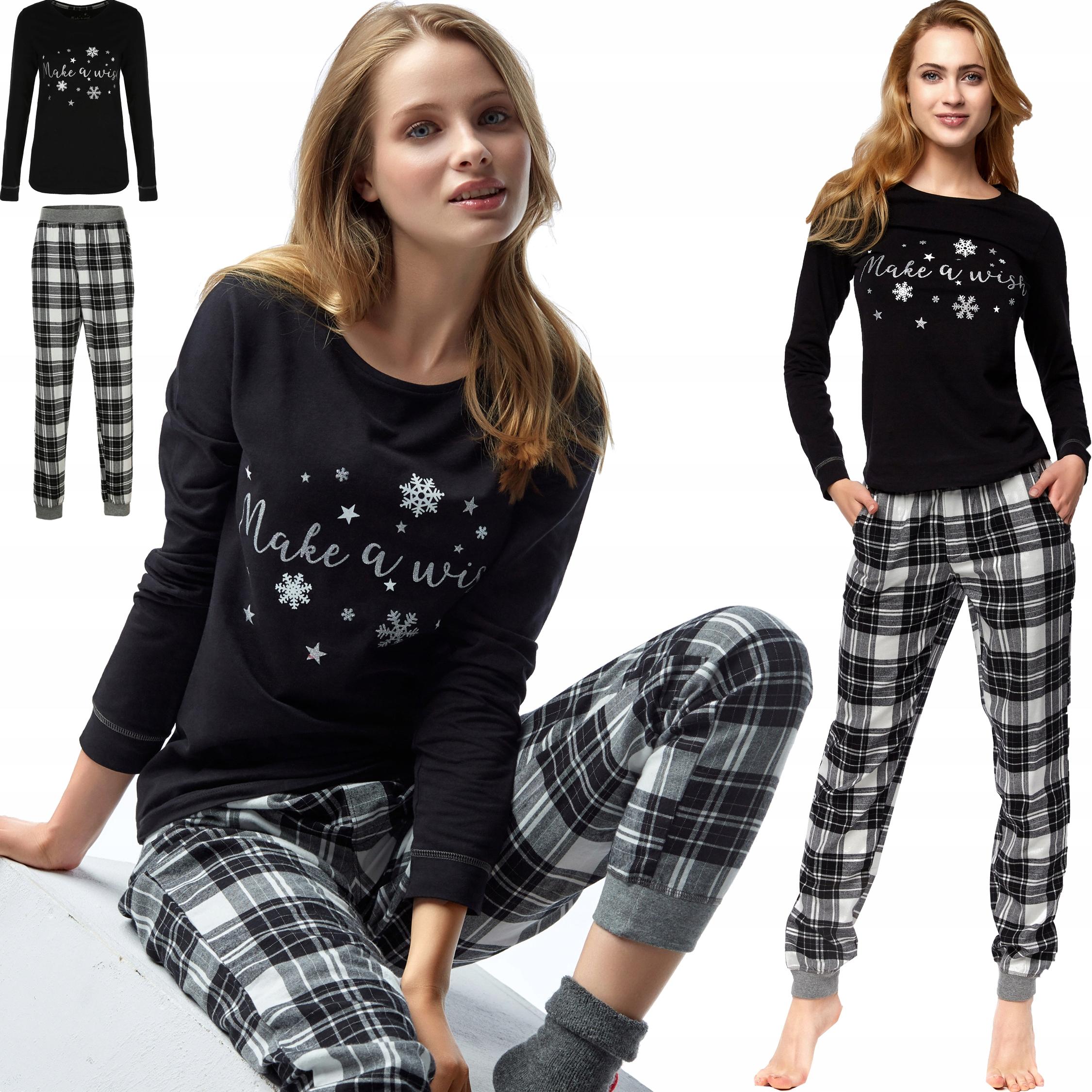Piżama damska Esotiq spodnie z miękkiej flaneli M