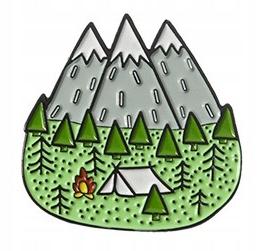 Pins Camping Góry emaliowana przypinka