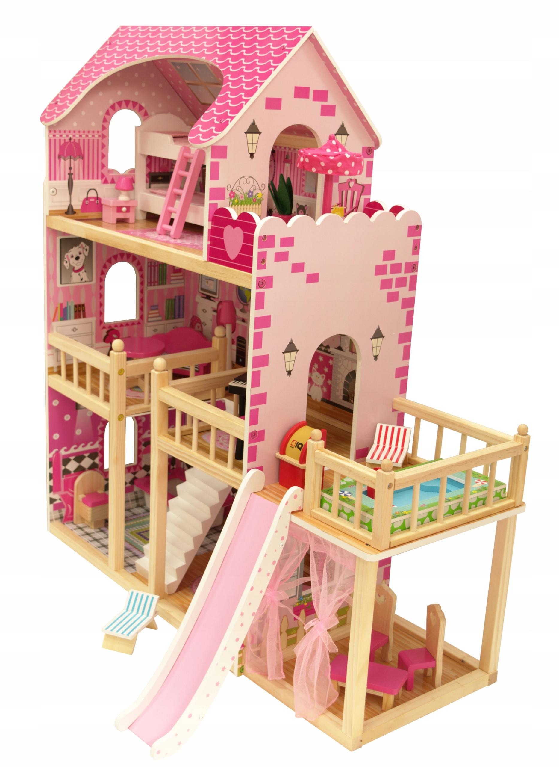 Drevený domček pre bábiky INGA Terasa Bazén LOL