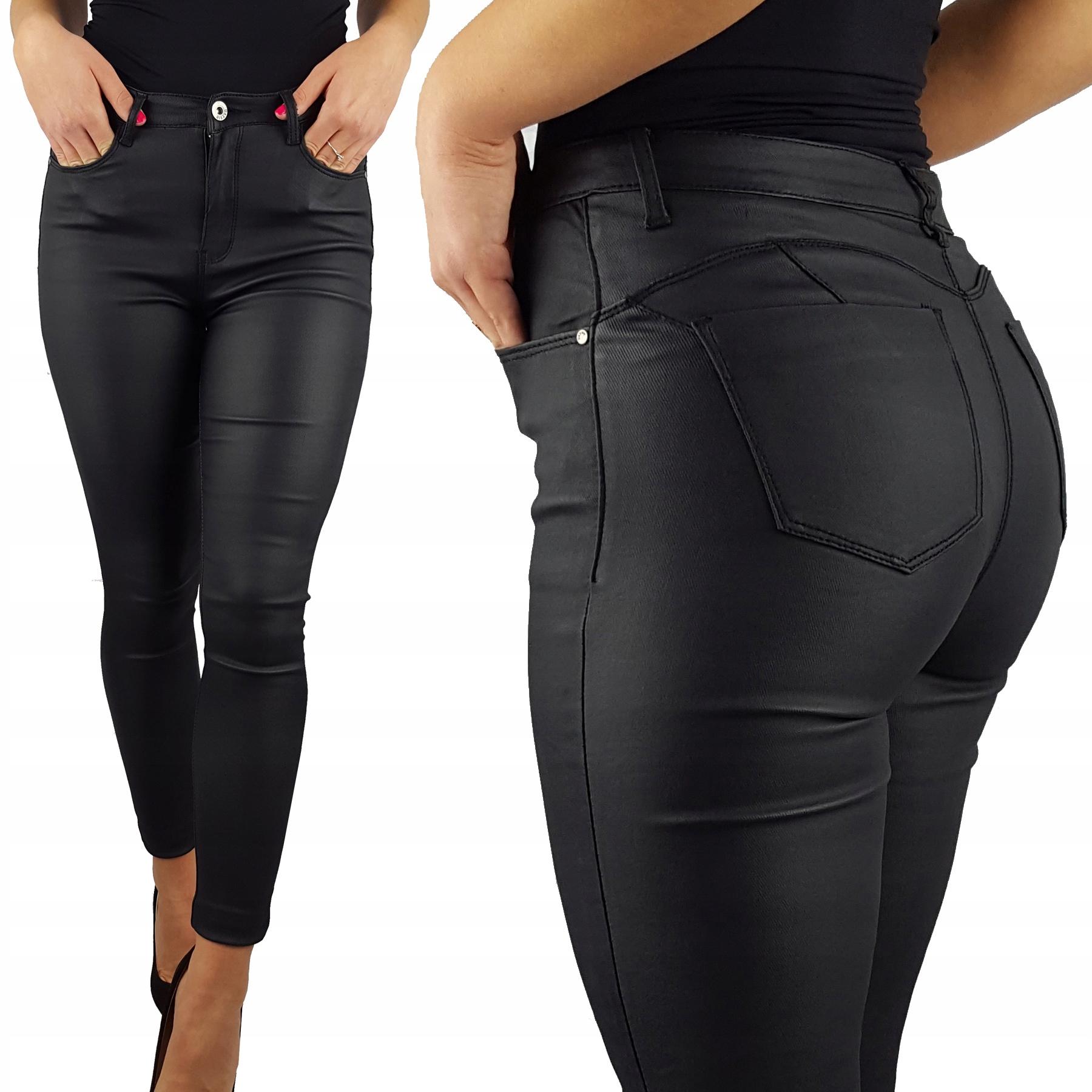 Spodnie Ocieplane Woskowane Push-up Plus Size New