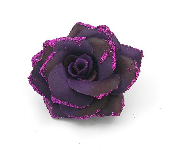 Broszka Różyczka Z Brokatowym Pyłem Purpurowa