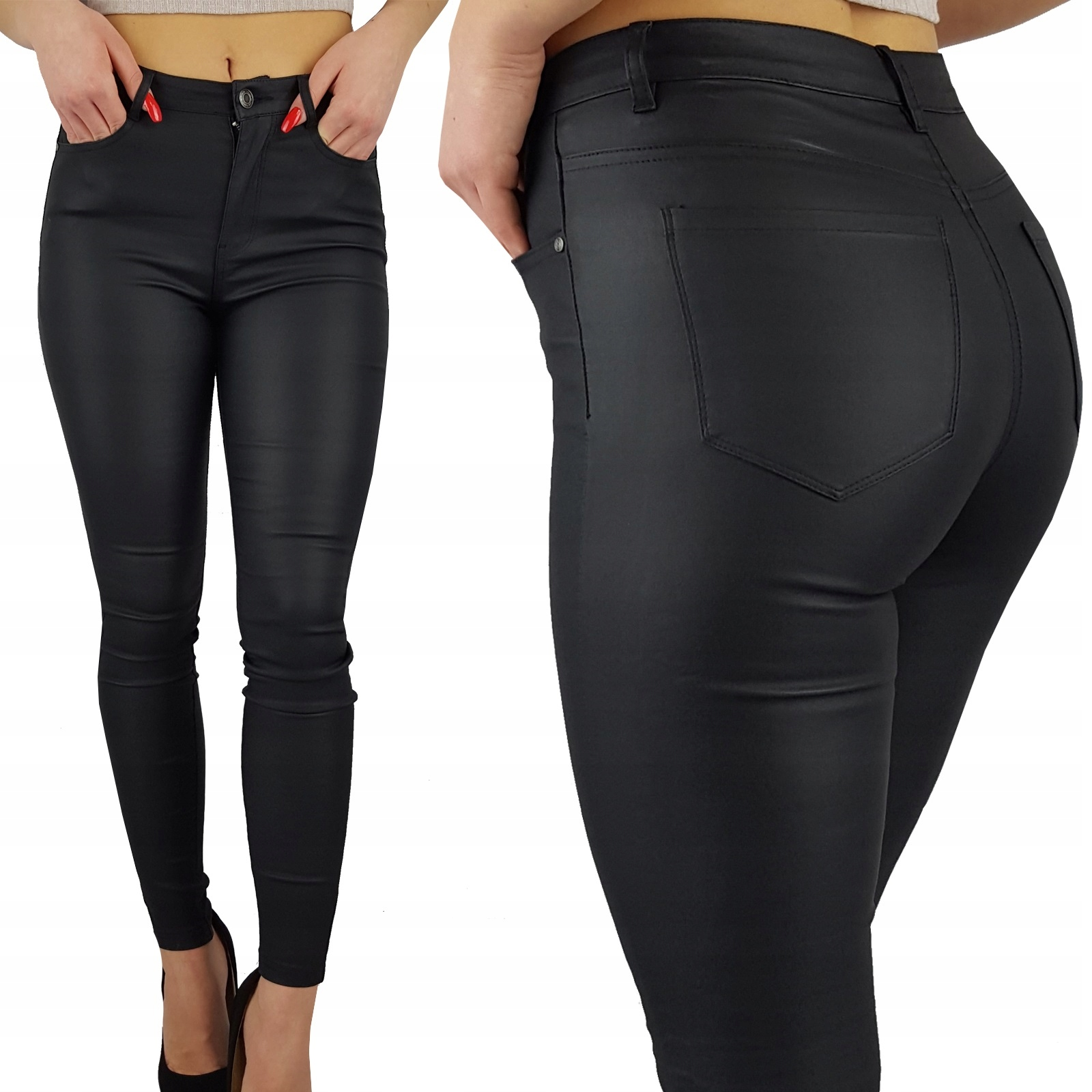 Spodnie Modelujące Woskowane Skóra Black Matowe