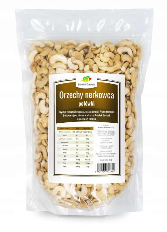 Item CASHEW nuts halves 1kg Nerkowce NATURAL