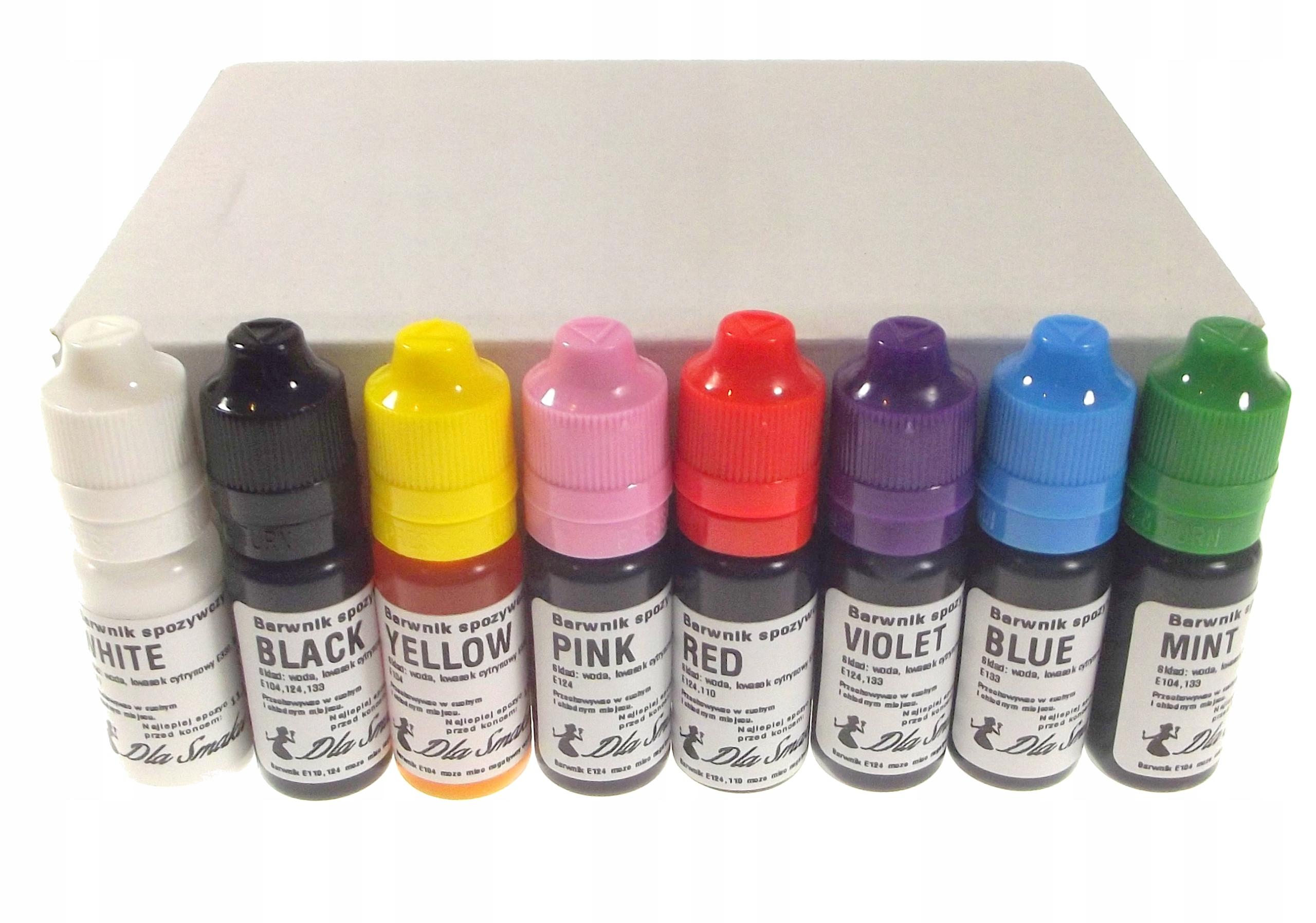 Zestaw barwników spożywczych 8sztuk kolorów x 20ml