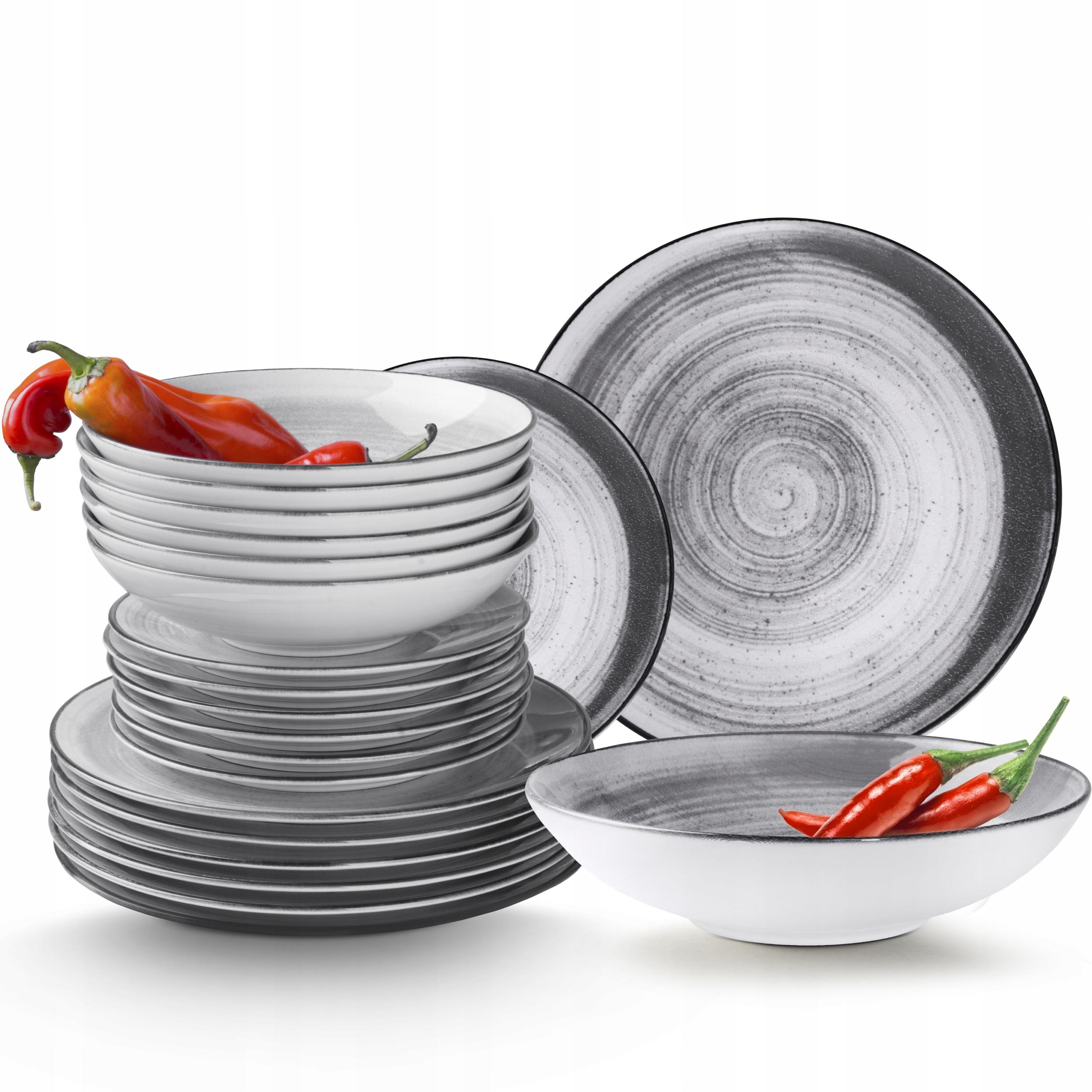 Komplet Porcelanowy Zestaw Obiadowy 18el KONSIMO