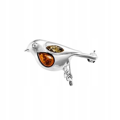 Ptaszek Rudzik broszka srebrna AG925 z Bursztynem