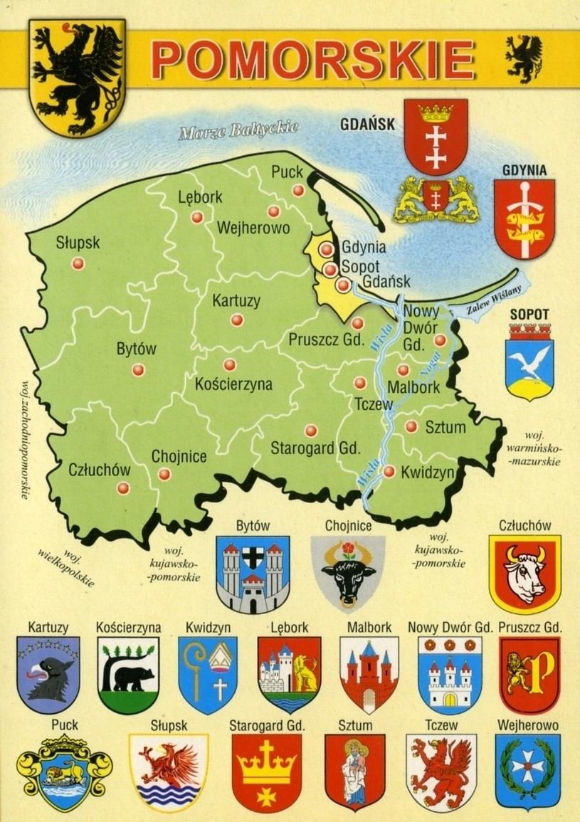 WOJ POMORSKIE HERBY MAP WR794