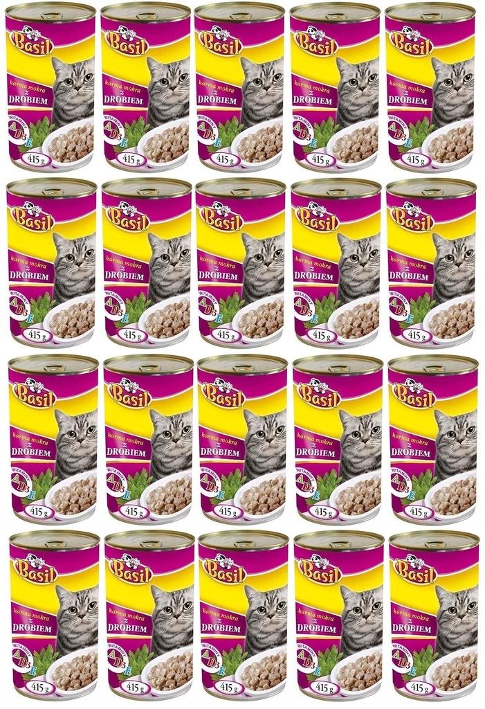 Karma dla kota puszka BASIL MIX SMAKÓW 60 x 415g Kod producenta Karma mokra dla kota Basil MIX smaków