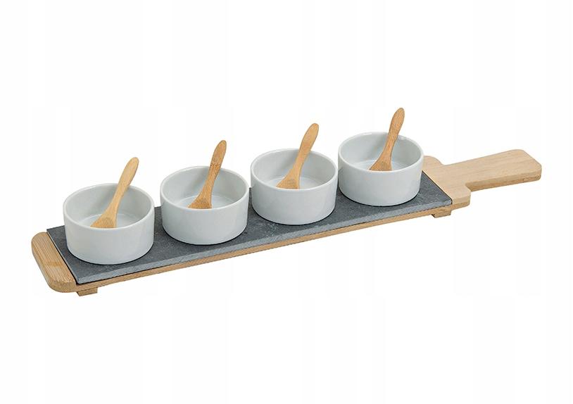 Zestaw do przekąsek,dipów,sosów z porcelany/łupku