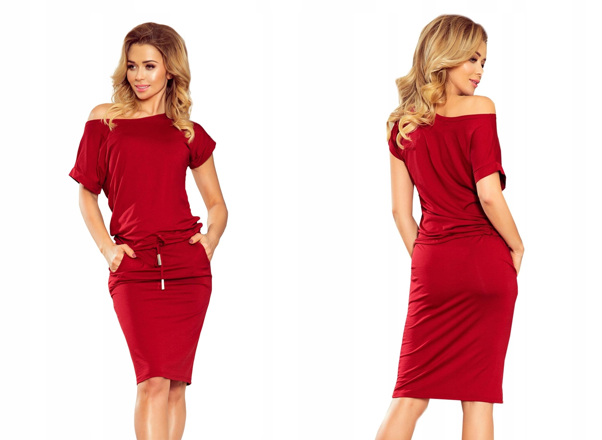 Dresowa Sukienka Krótki Rękaw Na Lato 139-5 S 36