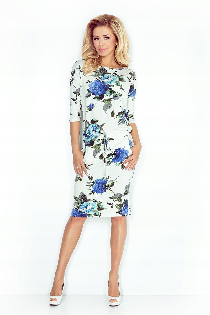 Sukienka sportowa dresowa Kwiaty Kieszenie XL 42