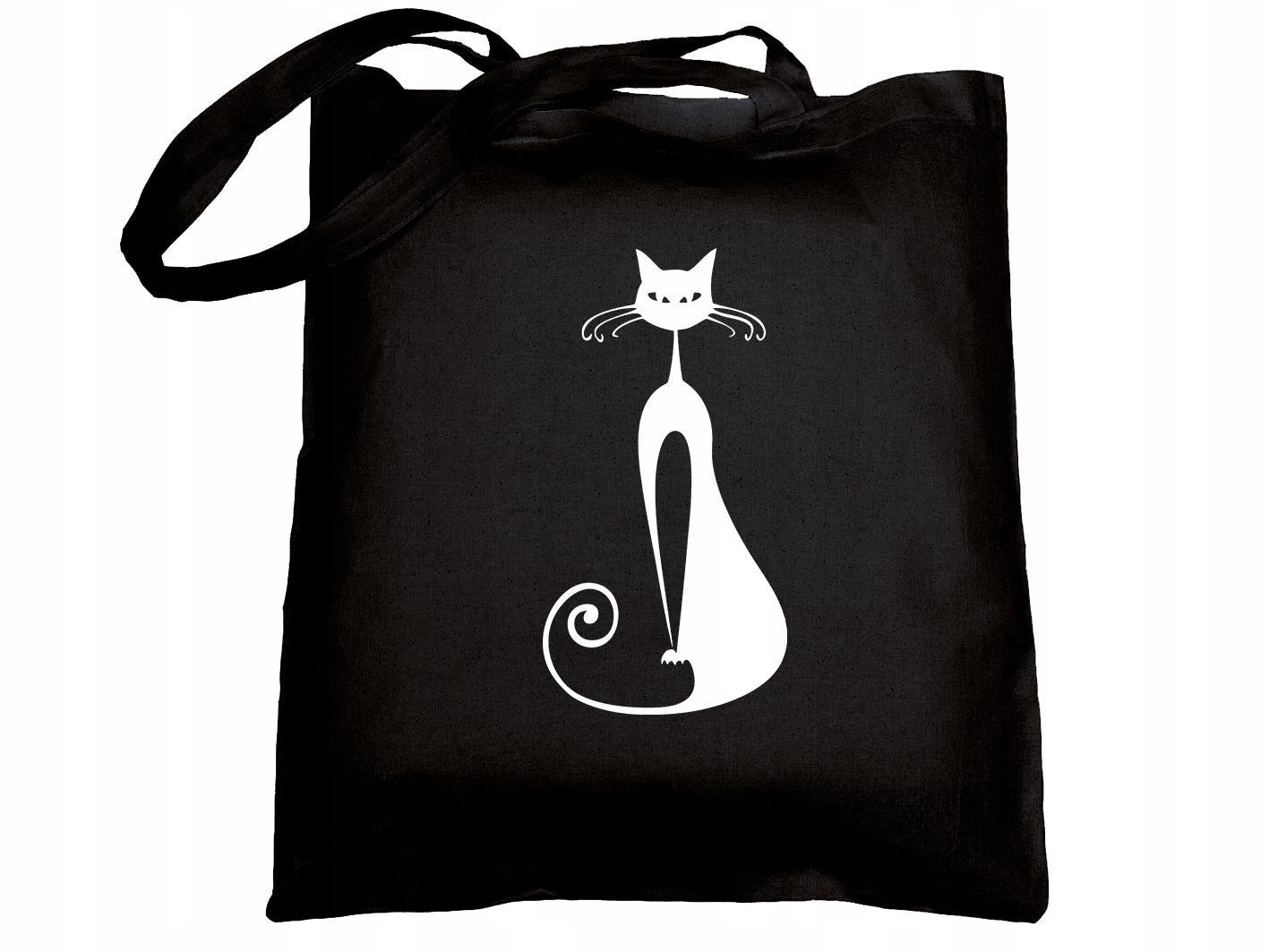 Torba bawełniana torebka na ramię materiałowa Kot