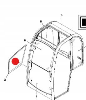 Стекло снизу справа мини-экскаватор 827/80289 JCB 8014