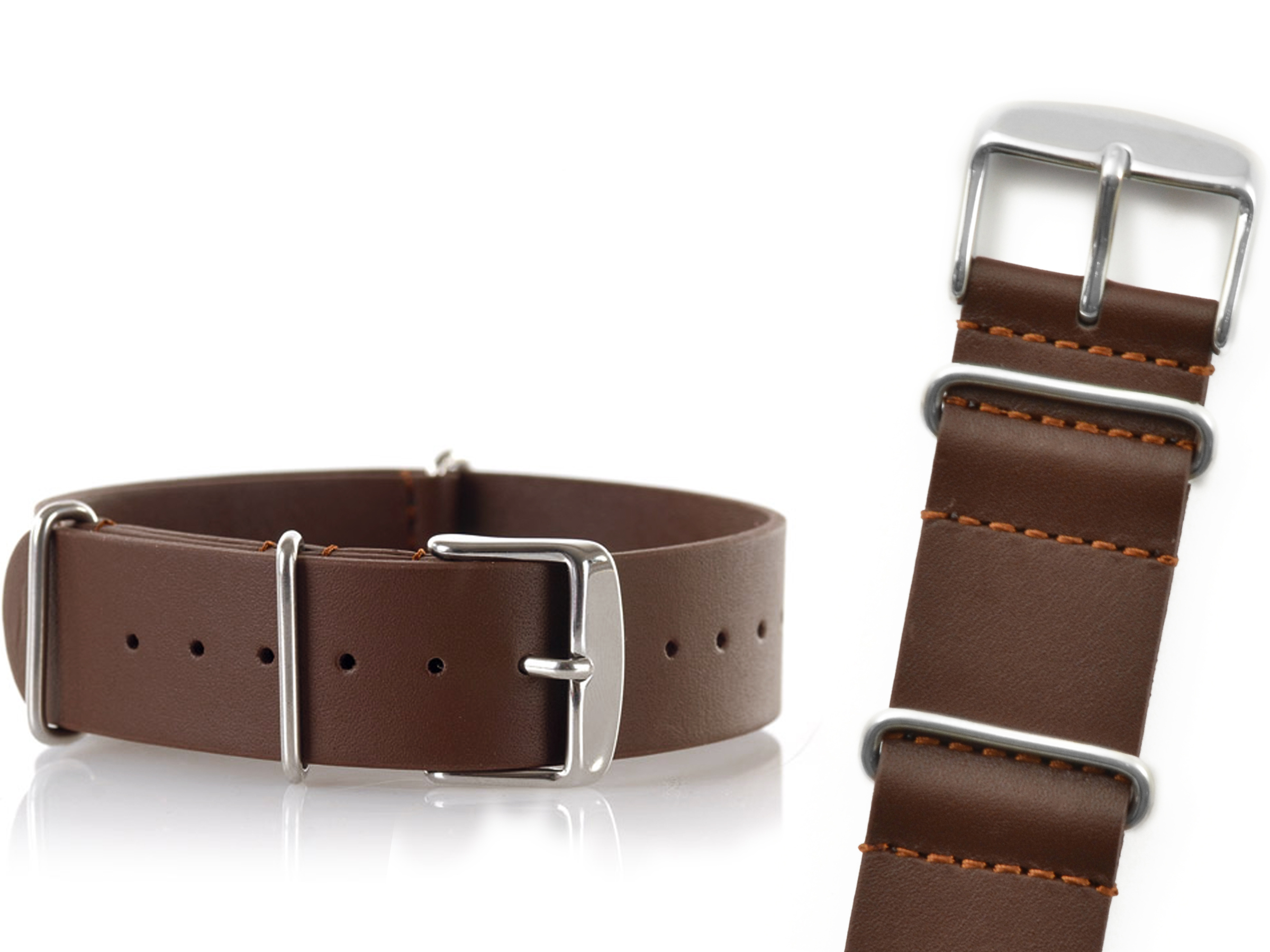Item BROWN LEATHER STRAP FOR WATCH NATO LEATHER 22