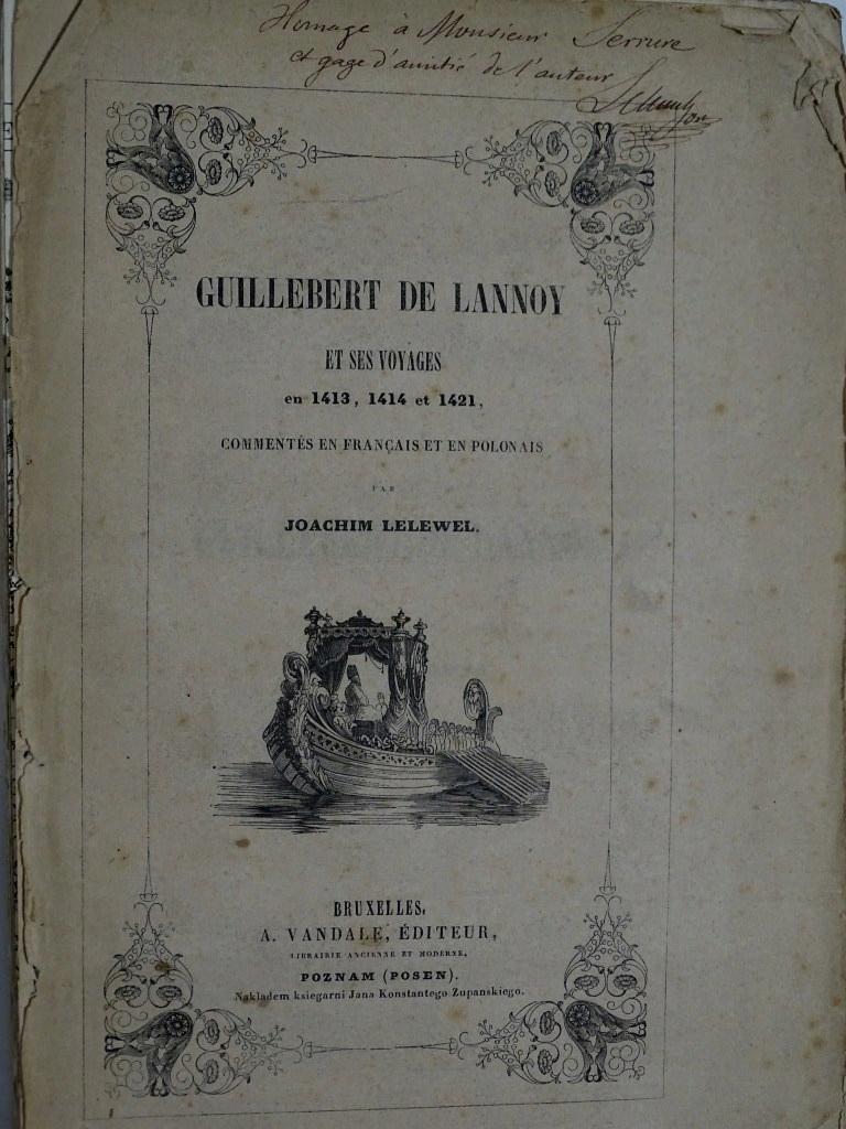 GILBERT de LANNOY AUTOGRAF JOACHIM LELEWEL 1844