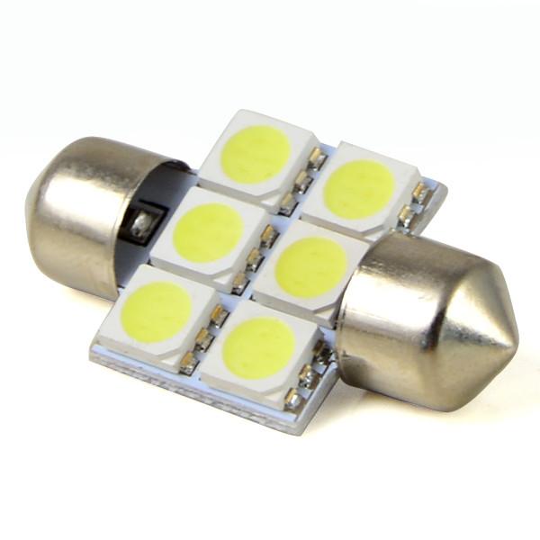 Лампочка автомобильная sv85 18w 31mm 6x5050 dc 12v