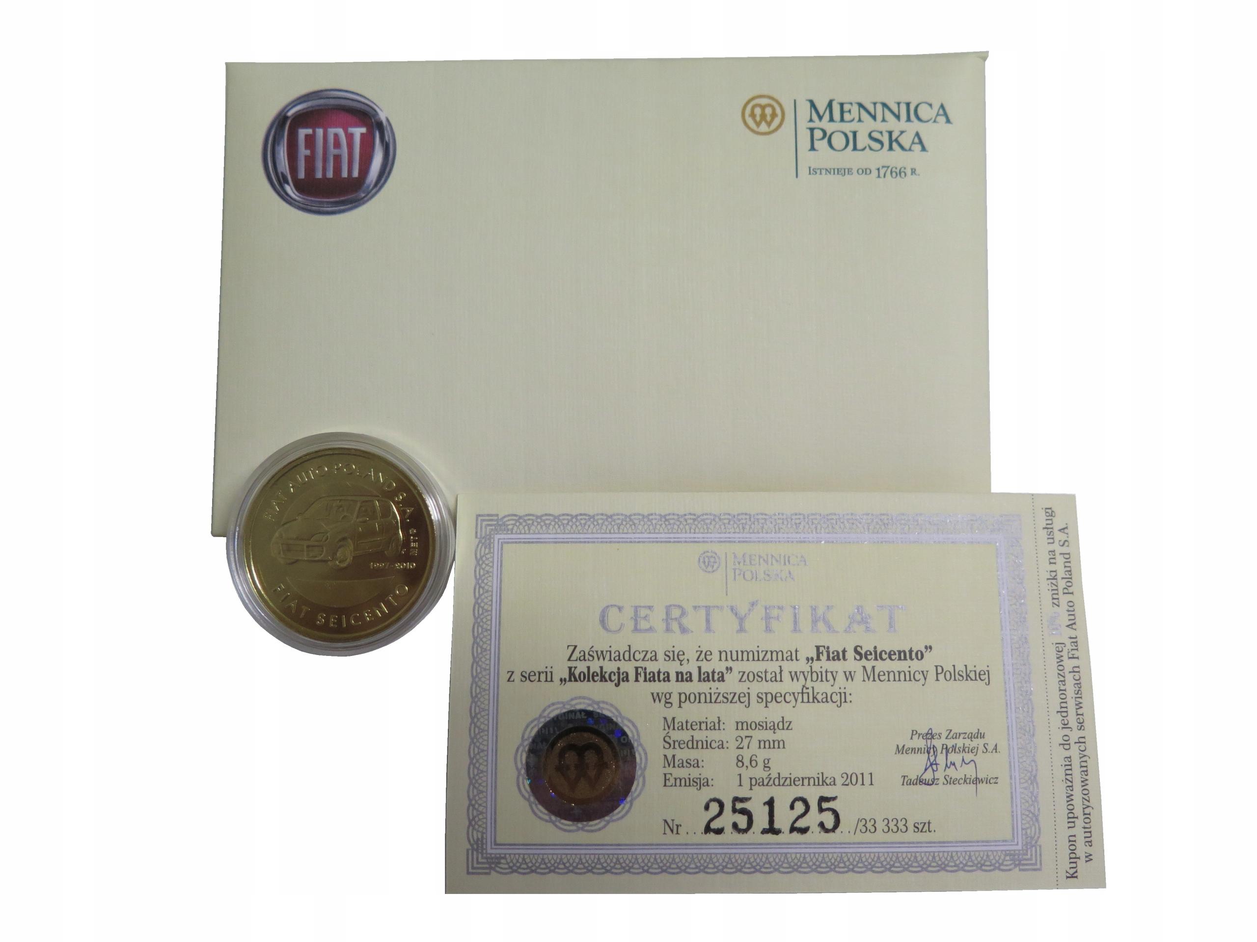 Numizmat moneta kolekcjonerska Fiat SEICENTO