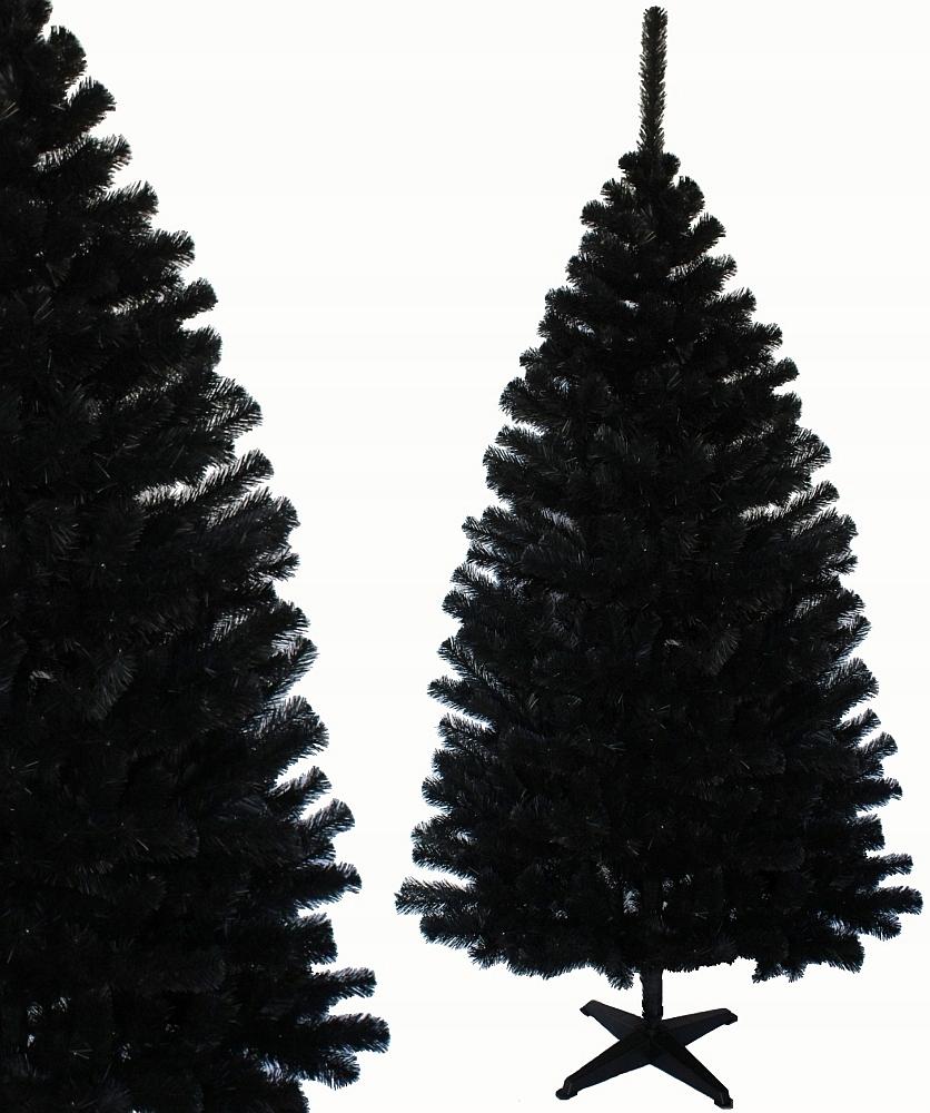 Umelý vianočný stromček ČIERNY Jedľa 180 cm hrubý stojan