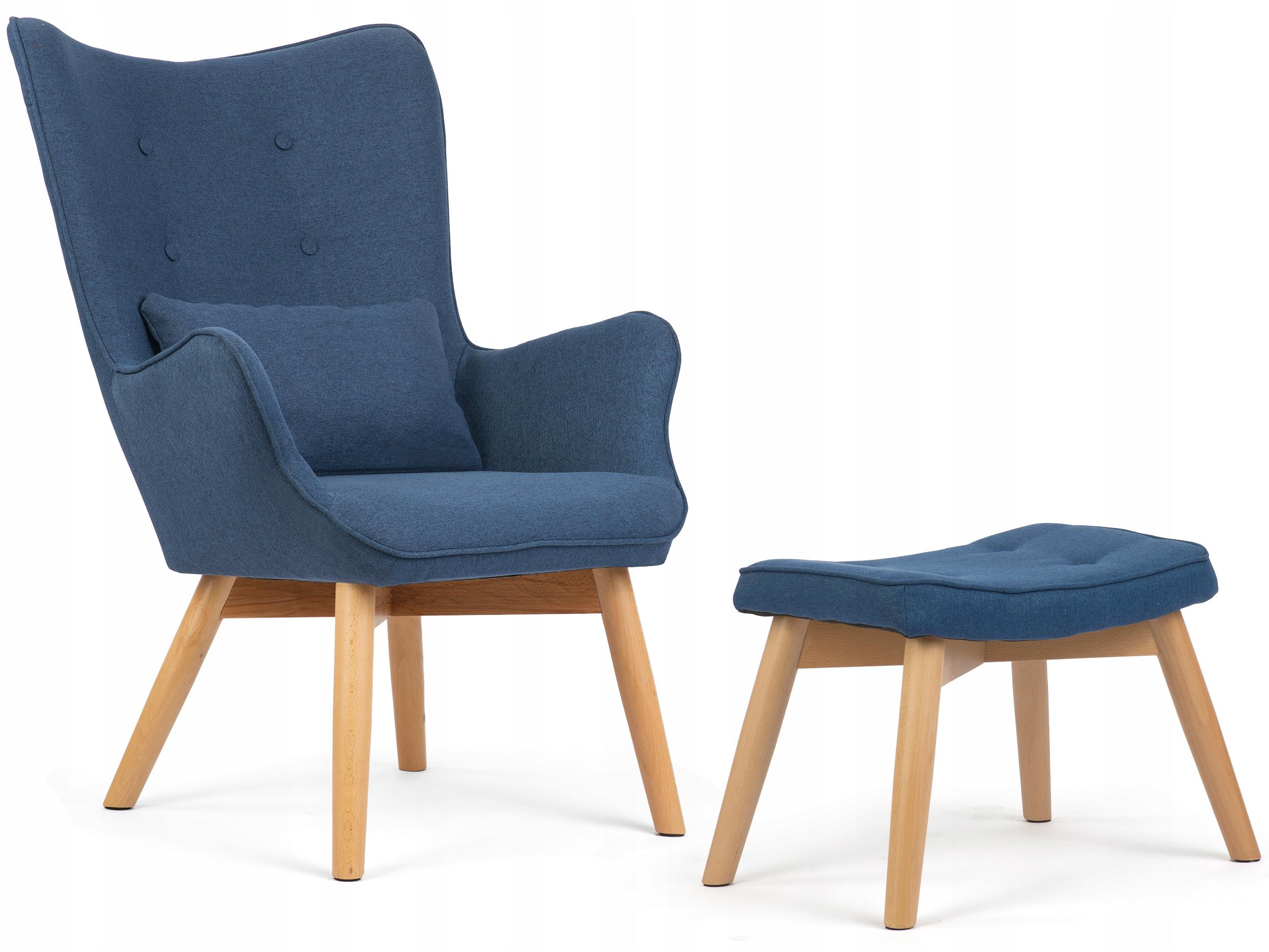 Fotel USZAK styl skandynawski + podnóżek poduszka Szerokość mebla 70 cm