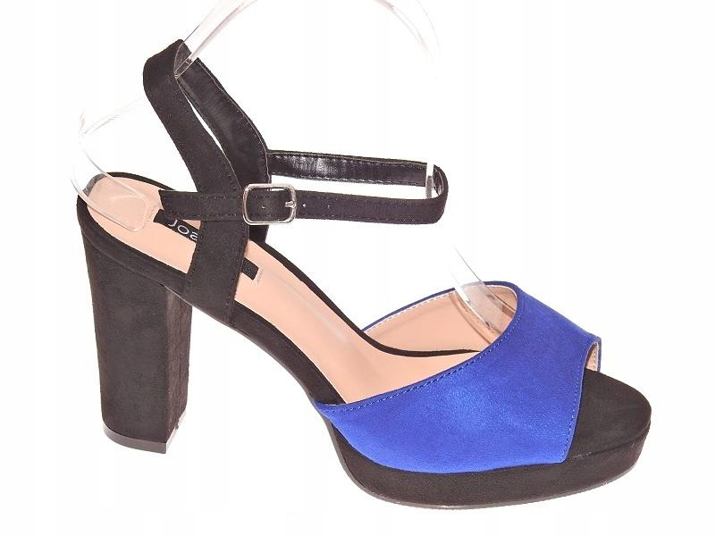 Zamszowe Sandałki Słupek ZY160 Blue/B r.37