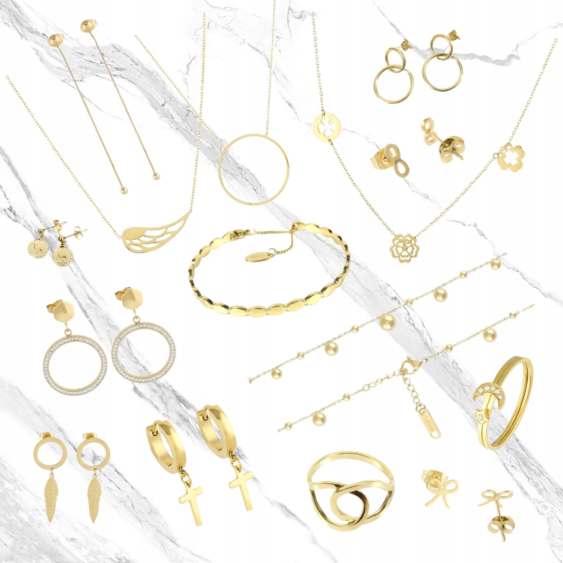 Złota bransoletka stal chirurgiczna łańcuch ogniwa 9444149391 eCsHNYWv