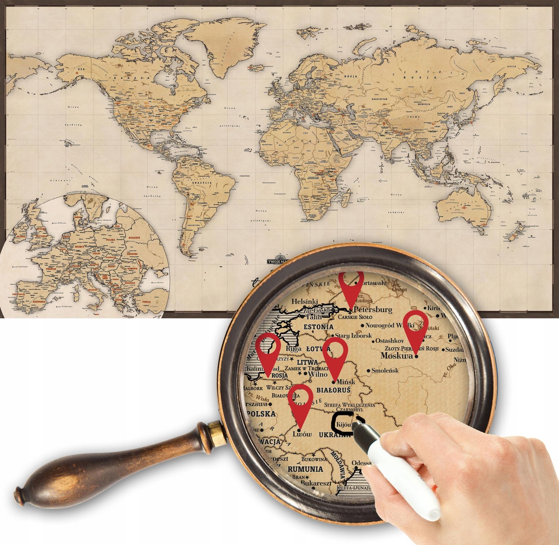 RETRO MAPA SVETA - OZNAČTE SVOJU CESTU