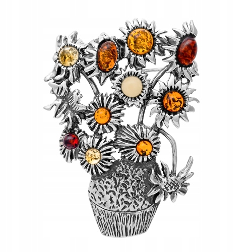 Słoneczniki Van Gogh broszka wisiorek z Bursztynem