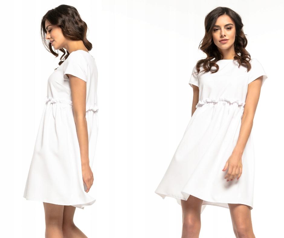 Sukienka oversize rozkloszowana, falbana, L